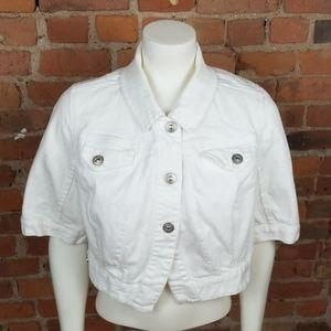 Lane Bryant white denim coat size 16